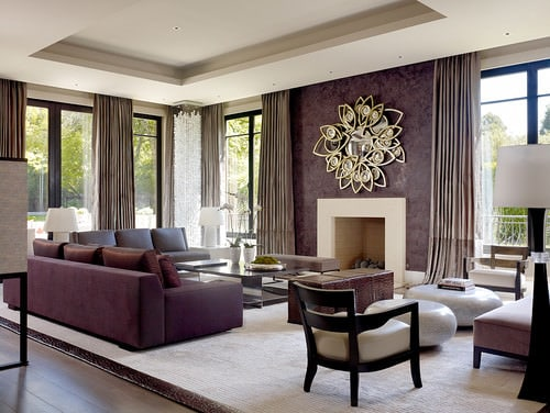 Large Contemporary formal living room with tray ceiling  purple walls glazed floor to draperies and a fireplace 425 Living Room Ideas for 2018