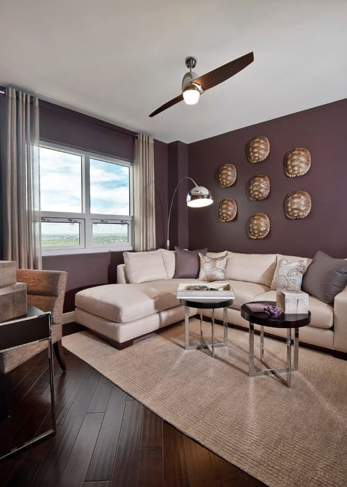 Small Contemporary living room with ceiling fan light, purple walls, floor  lamp and an L-shaped sectional sofa.Photo by Barbara Rooch Interior  Environments, ...