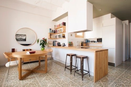 Small Scandinavian u-shaped kitchen with ceramic flooring, wood countertops and a peninsula breakfast bar.