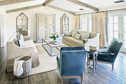 Large Shabby Chic Living Room With Beam Ceiling, Hardwood Flooring With A  Rug And French Doors.Photo By The Refined Group   More Living Room Ideas