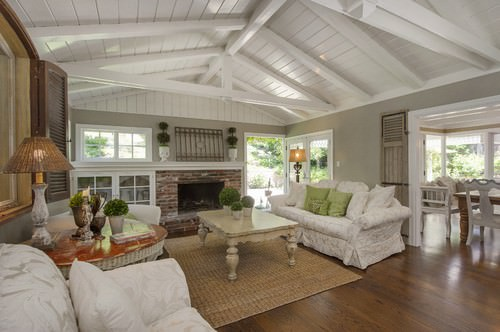 Shabby Chic Living Room With Beam Ceiling, Gray Walls And A Brick  Fireplace.Photo By Dana Green   More Living Room Ideas