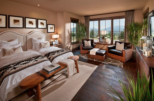 Large Southwestern Master Bedroom With Tray Ceiling And Panorama Windows  With Views To The Desert Outdoor.Photo By Tate Studio Architects   More  Bedroom ...