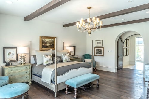 Southwestern Master Bedroom With Beam Ceiling, Chandelier And White Walls.Photo  By Platinum Series By Mark Molthan   Search Bedroom Design Ideas
