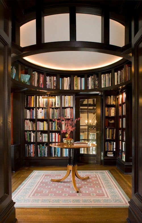 Traditional Large Elegant Looking Enclosed Library With Dome Ceiling And  Darkwood Shelves.Photo By Laurie S Woods, ASID   Browse Family Room Photos