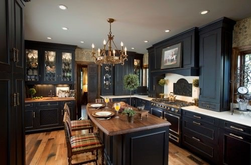 Victorian Kitchen With Black Cabinets, Black Appliances And Beige  Backsplash.Photo By Kitchen Designs By Ken Kelly, Inc. (CKD, CBD, CR)    Browse Kitchen ...