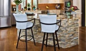 Kitchen island made from natural stone.