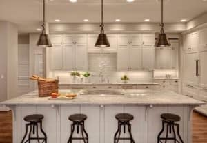 Kitchen island with pendant lights.