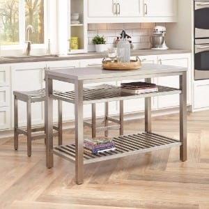 Stainless steel table island with barstool.
