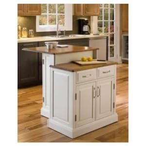 Double-tier kitchen island with wooden countertop.