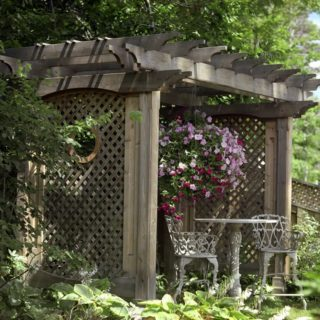 This pergola has lattice between it's pillars that keep the space private. It is draped in bright flowers and makes a great garden sitting spot.