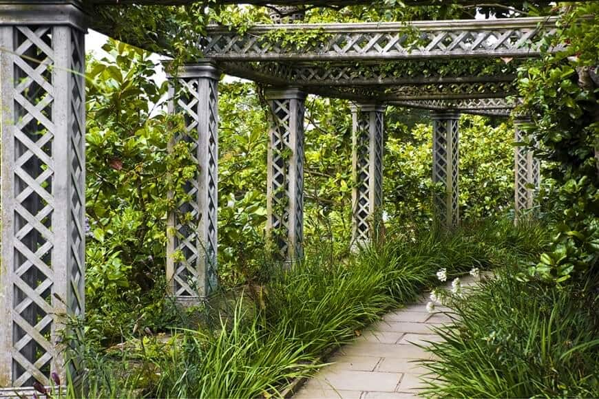 A jaw-dropping train of pergolas houses the different and many kinds of vines and foliage in the area. This walkway is just stunning.