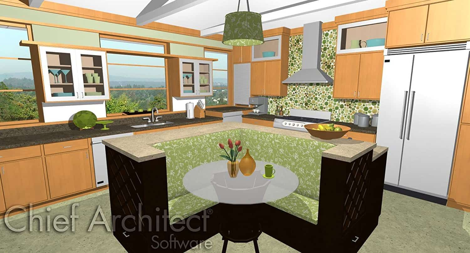 Rendering Of 3D Kitchen Design With Chief Architect Design Software.
