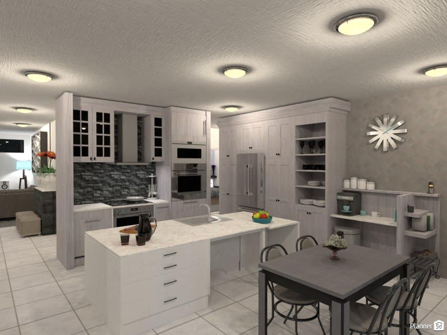 Rendering Of A Custom Kitchen Designed With Planner5D Software.