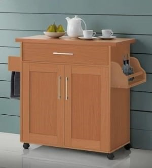 A rolling cart type of kitchen island.