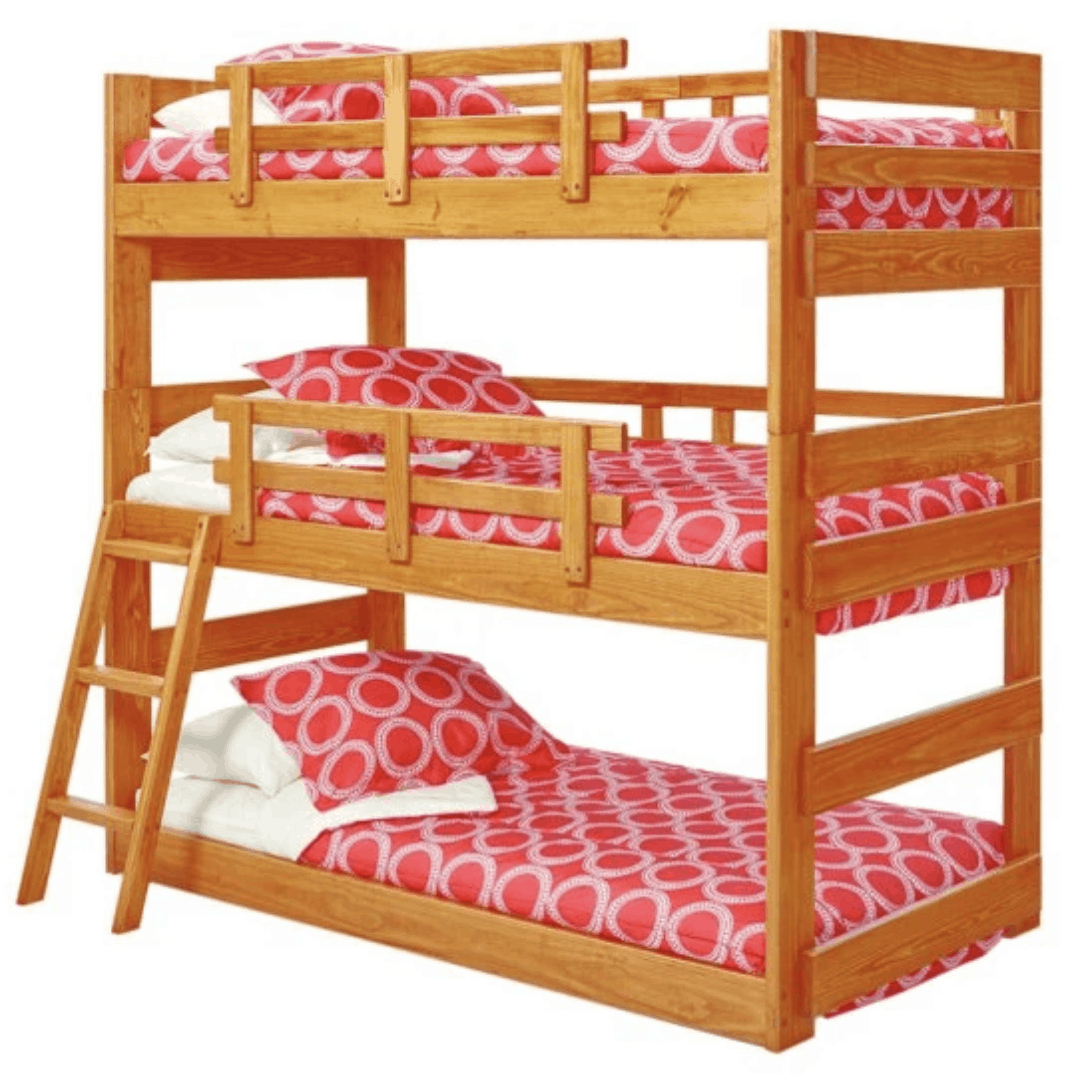 Triple bunk bed with partial ladder.