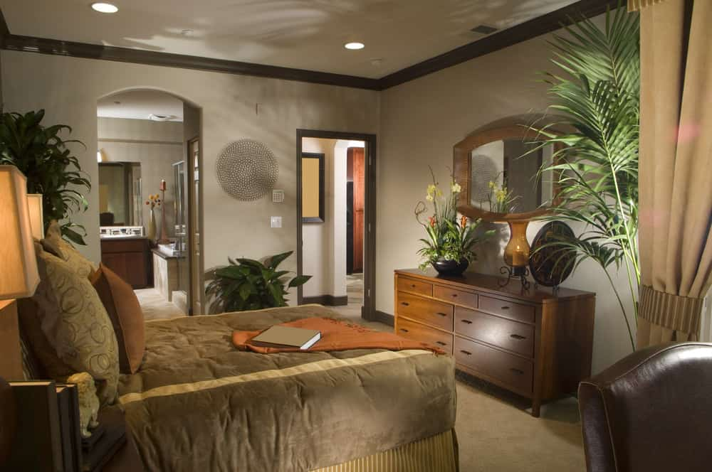 Tropical-style primary bedroom with its own personal bathroom. It offers a comfy brown bed setup, along with multiple indoor potted plants inside.