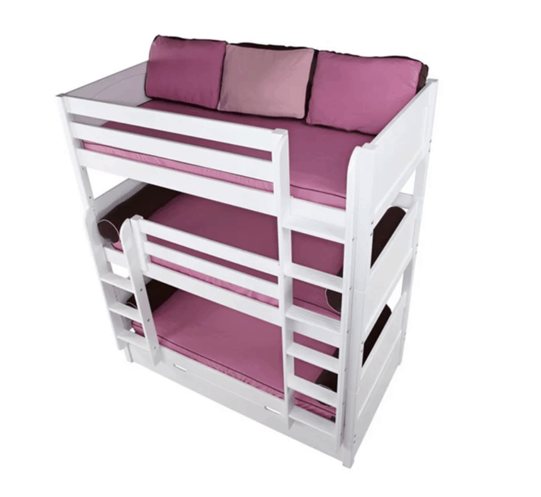 Triple bunk bed with ladder that goes to top level.