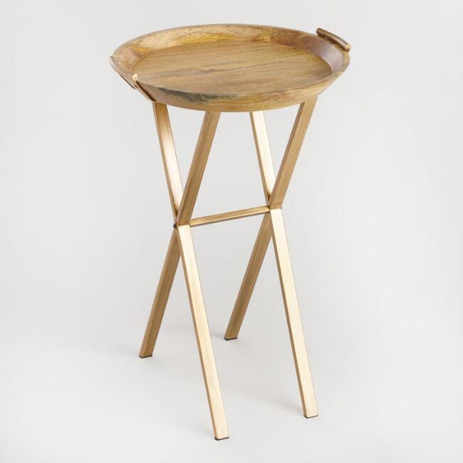 Wooden accent table.