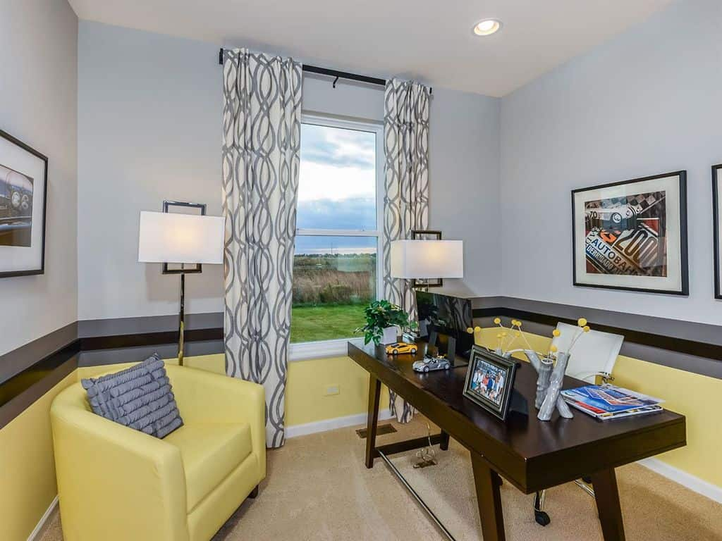gray home office. Gray Home Office. Contemporary Office With Chair Rail And Carpet.Zillow Digs