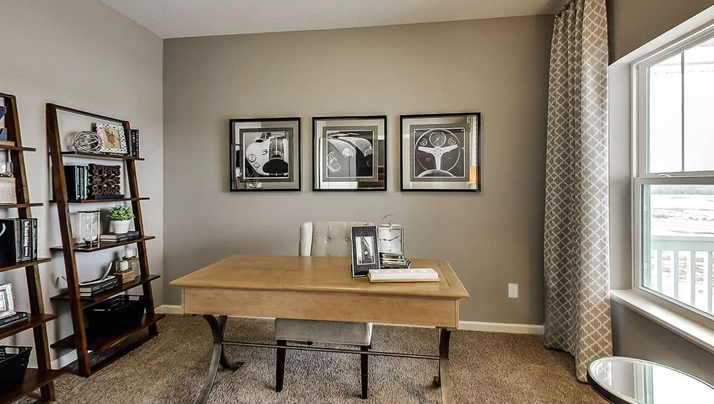 Contemporary Home Office With Chair Rail And Carpet.Zillow Digs