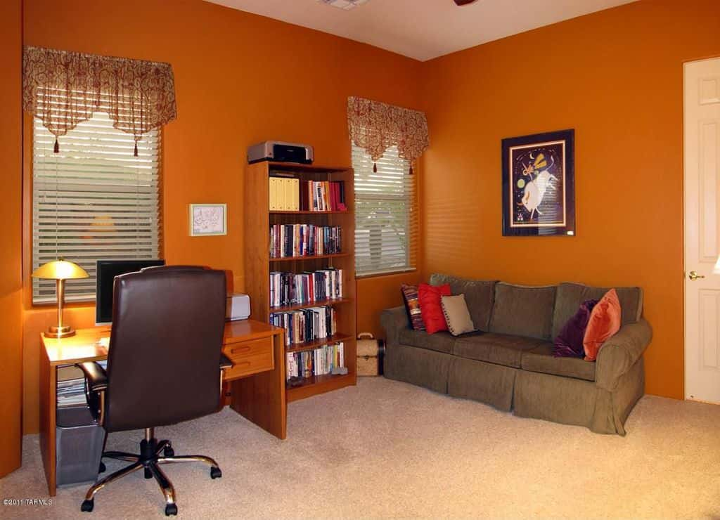 eclectic home office. Eclectic Home Office With Orange Walls, Freestanding Table And A Sofa. Eclectic D