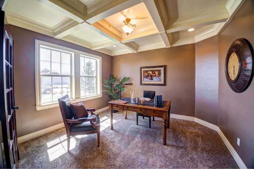 Traditional Home Office With Coffered Ceiling, Semi Flushmount Lighting,  Purple Walls And Purple