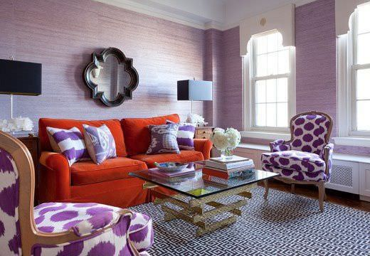 Eclectic Living Room With Purple Interior Wallpaper, Casement Windows And A  Red Sofa.Source: Zillow Digs