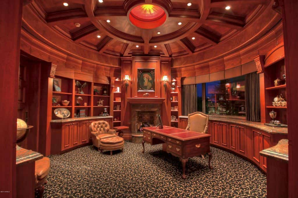 traditional home office. Large Traditional Home Office With Elaborate Ceiling, Round Red Walls,  Built-in Shelving Traditional F