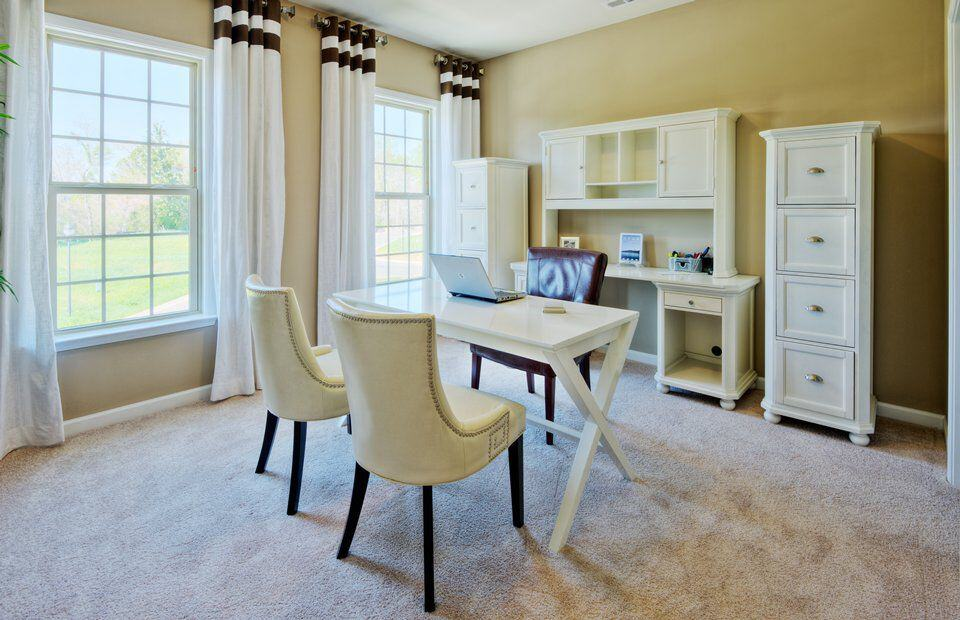 traditional home office with high ceiling and carpetzillow digs