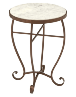 Small round marble-top accent table.