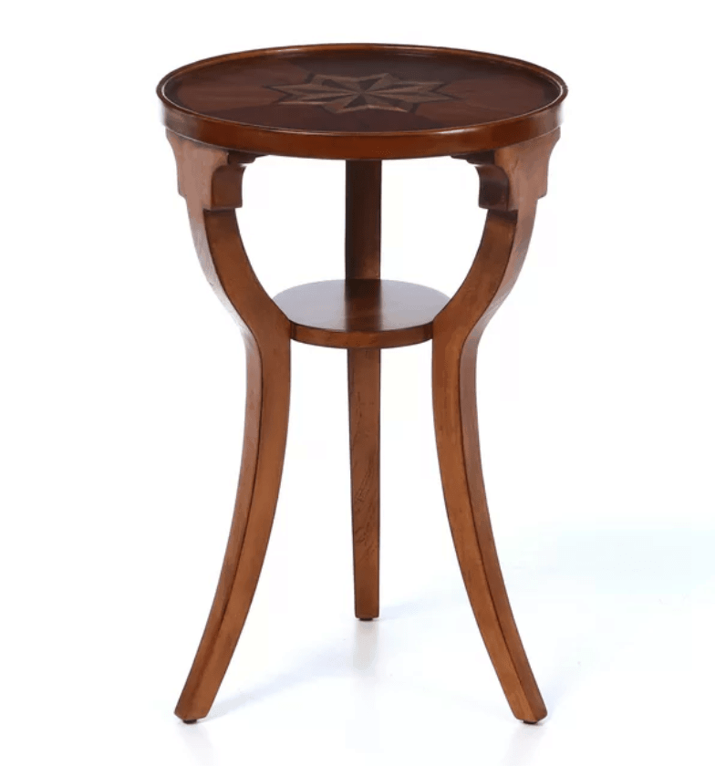Small round wood accent table for the living room.