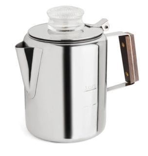 Small travel friendly stove top percolator coffee maker