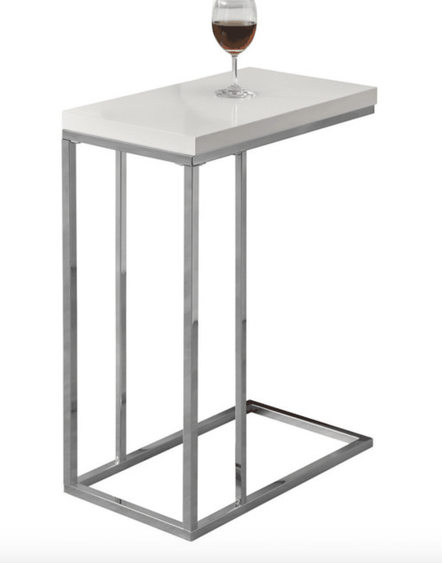 Modern white and chrome rectangle accent table