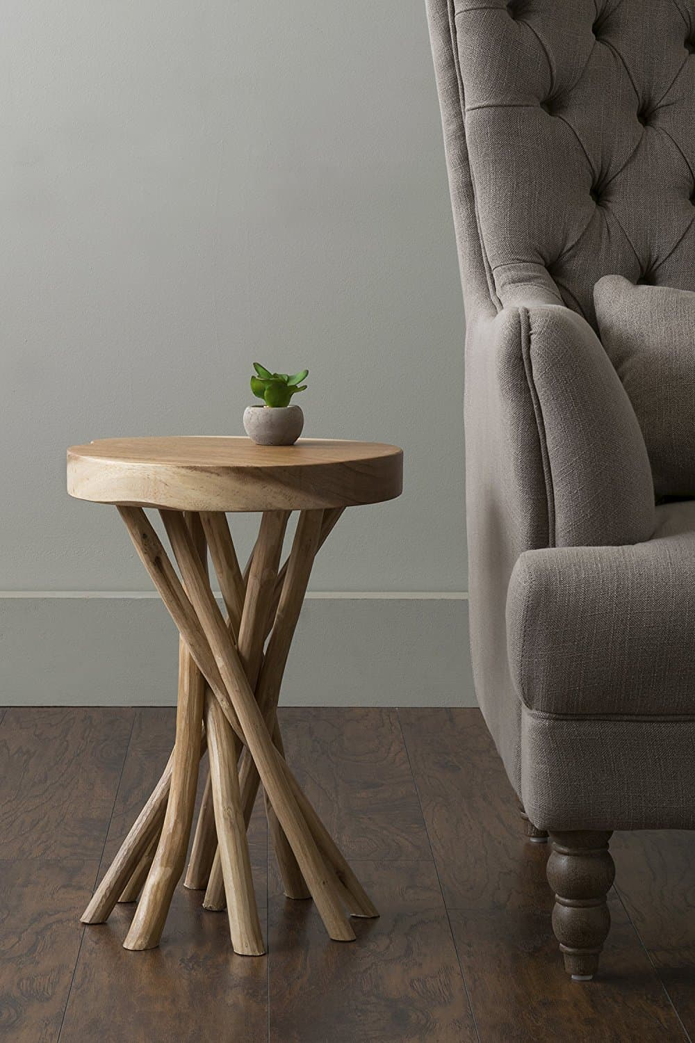 Small round rustic accent table