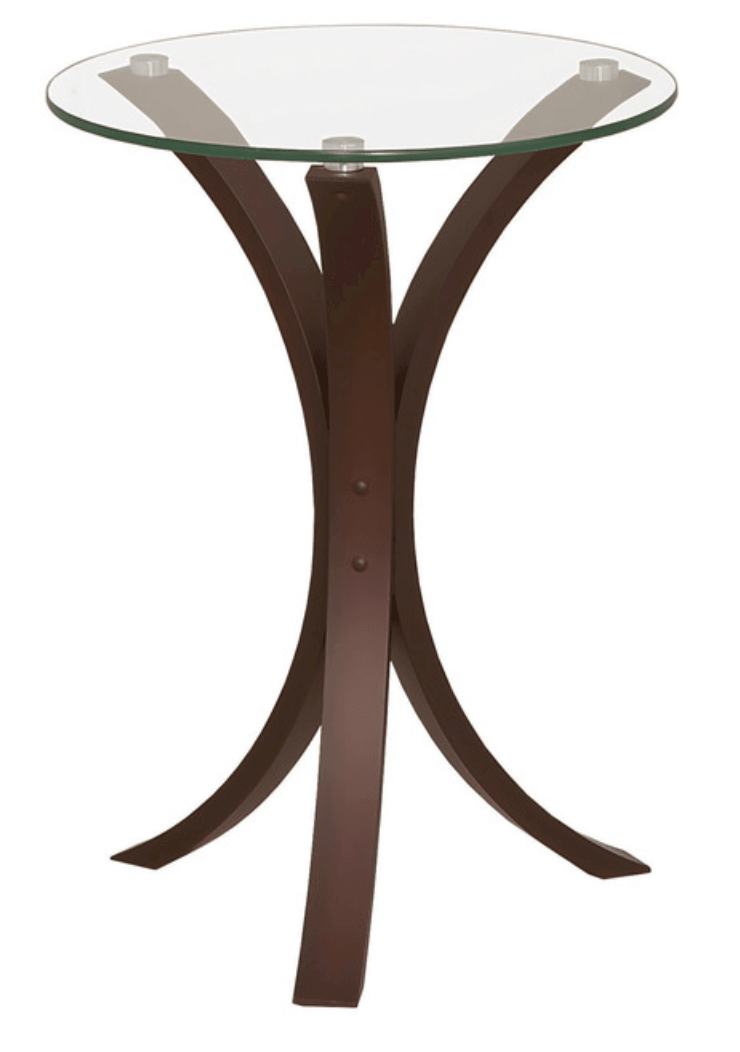 Elegant round compact accent table with glass top and wooden pedestal base