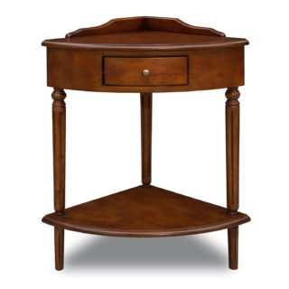 Corner compact wood accent table with small drawer and lower shelf
