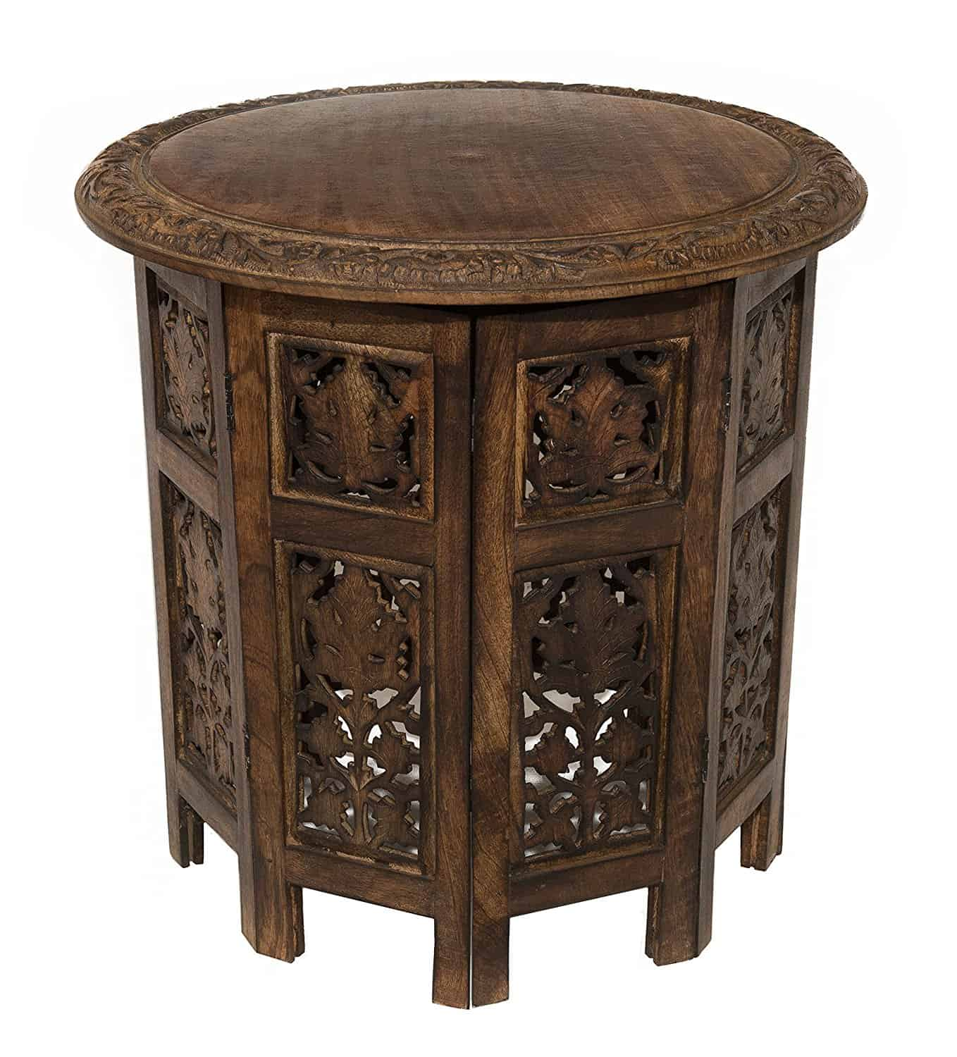 Small Ornate Wooden Round Accent Table.