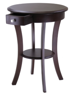 Small contemporary round accent table for the bedroom.