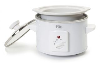 Elite small 1.5 quart slow cooker with white exterior
