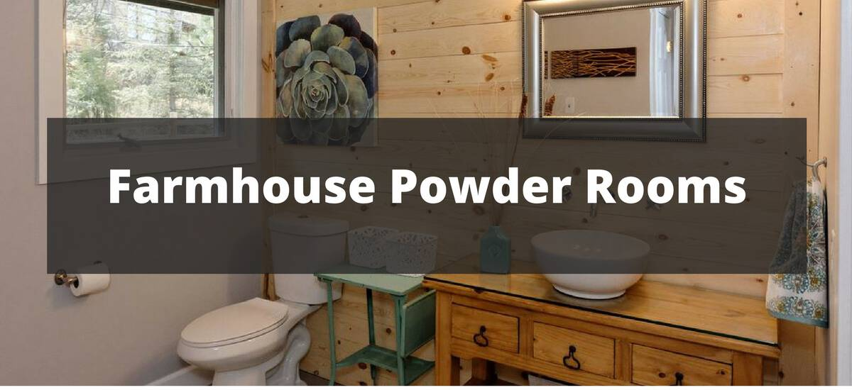 20 farmhouse powder room ideas for 2018. Black Bedroom Furniture Sets. Home Design Ideas
