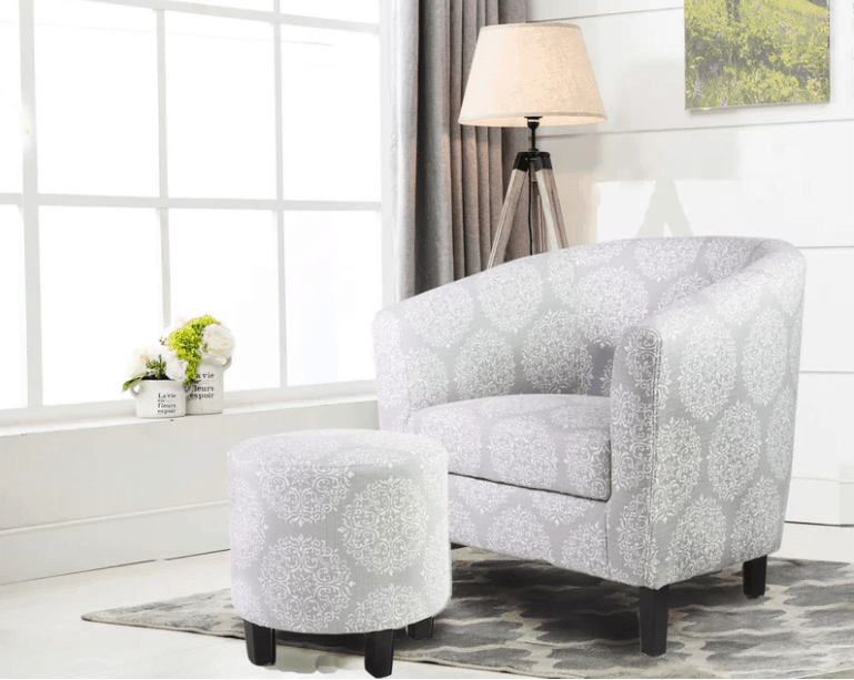 Barrel style accent chair with ottoman