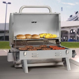 A portable propane gas grill with sturdy construction made from stainless steel.