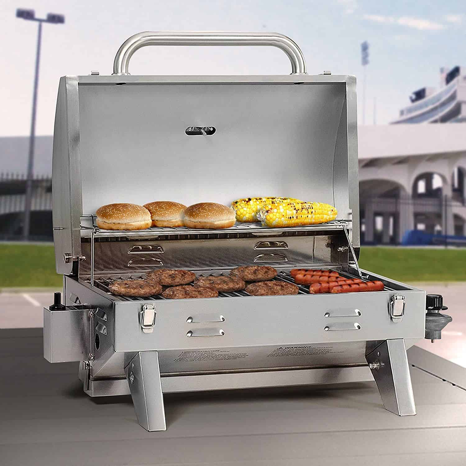 A portable gas grill made from stainless steel with strong metal construction.