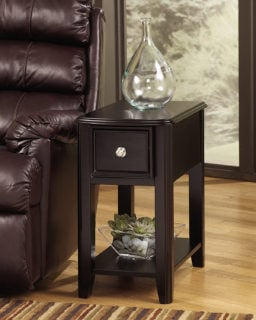 Ashley furniture signature design breegin rectangular chair side end table with nickel-tone hardware and dark finish.
