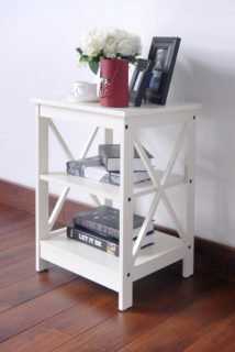 Wooden white X-design chair side end table with 3-level shelf.