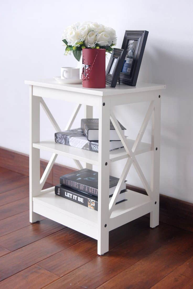 Wooden White X Design Chair Side End Table With 3 Level Shelf.