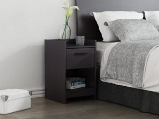Homestar central park 1-drawer nightstand with a full panel headboard and twin bookcase headboard offering a storage shelving and a gallery top.