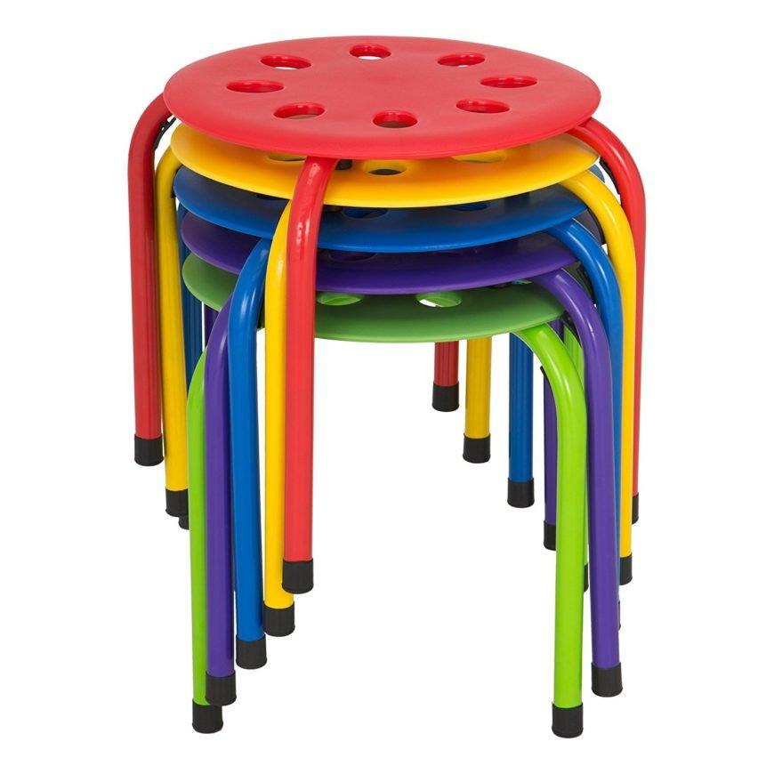 Plastic stack stools with assorted colors.
