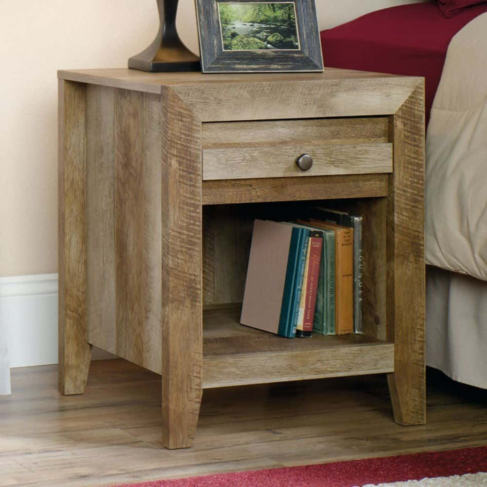 Sauder 418176 nightstand with easy-glide drawer and open shelf along with crafstman oak finish.