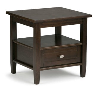 Simpli home warm shaker solid wood end side table with tobacco brown finish and bottom drawer.